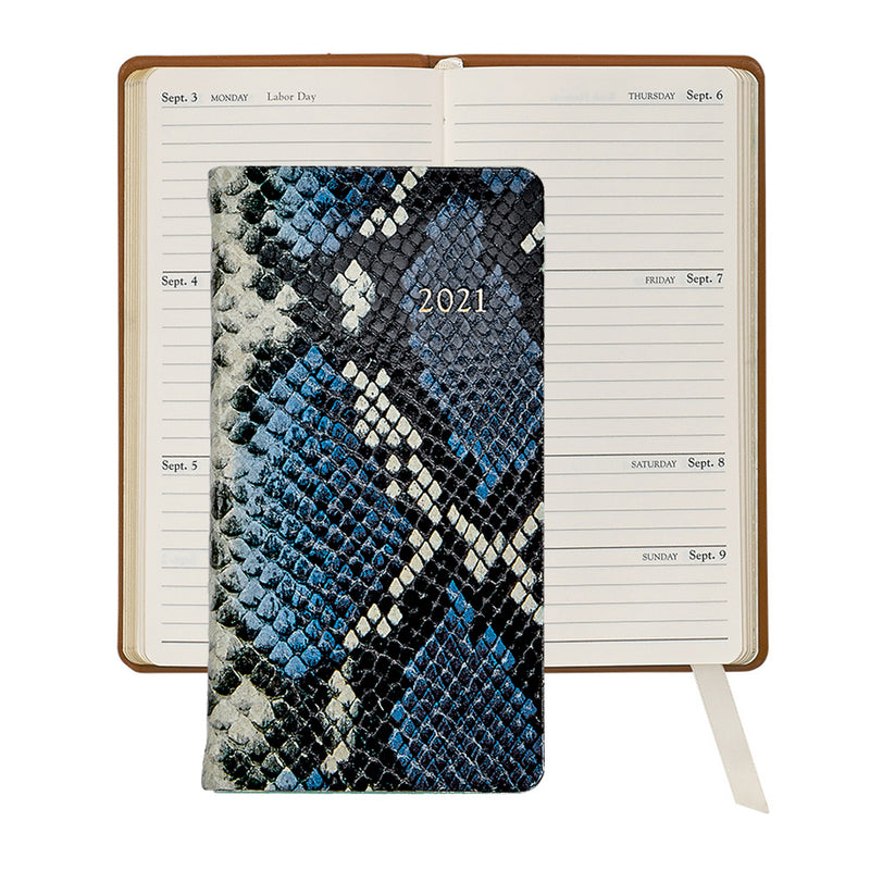 2021 Pocket Diary Blue Python Embossed Leather