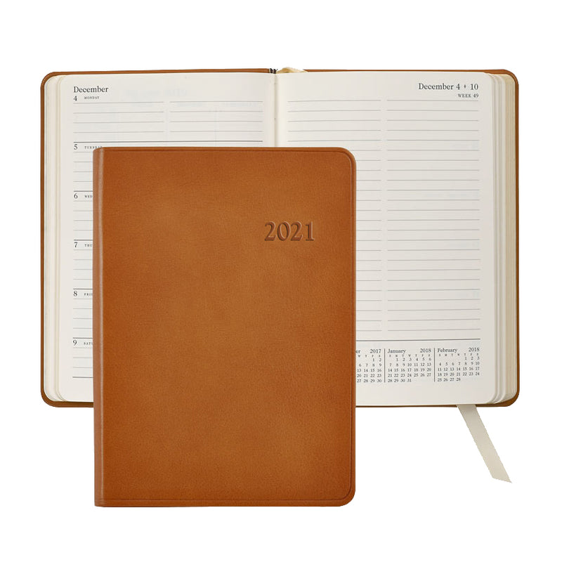 2021 Weekly Diary British Tan Leather