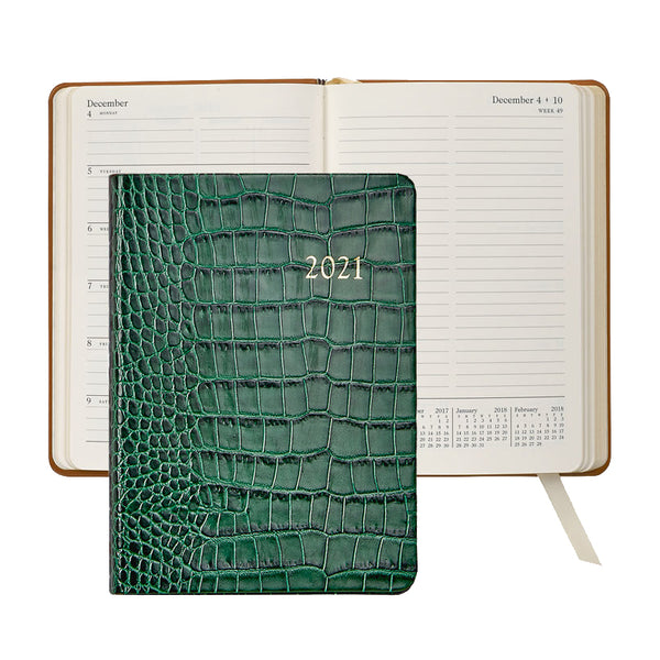 2021 Weekly Diary Emerald Green Crocodile Embossed Leather