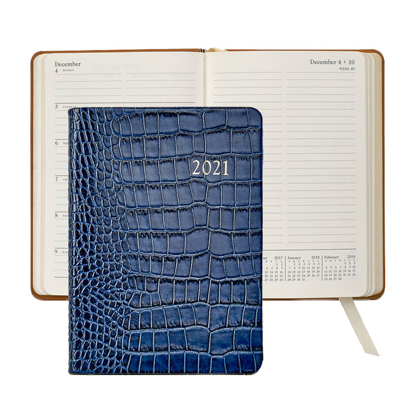 2021 Weekly Diary Sapphire Blue Crocodile Embossed Leather