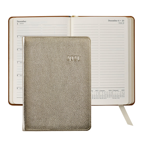 2021 Weekly Diary White Gold Metallic Leather