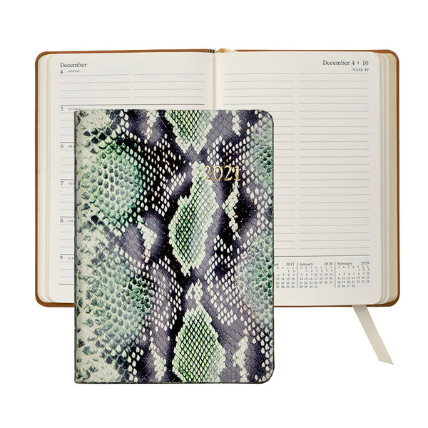 2021 Weekly Diary Green Python Embossed Leather - Limited Edition