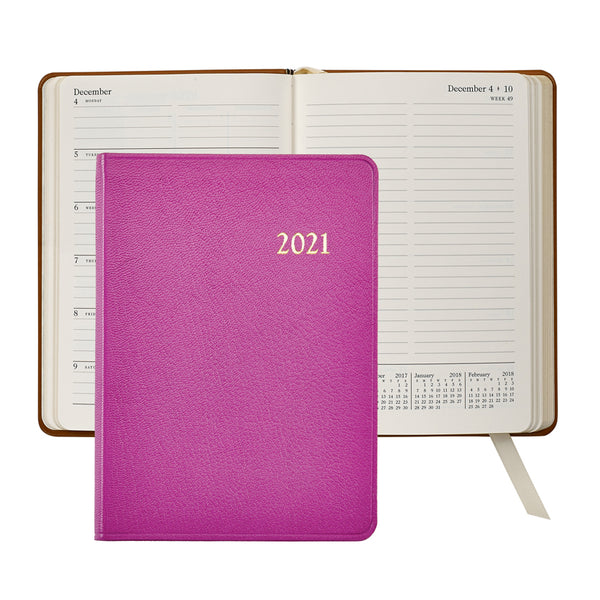 2021 Weekly Diary Pink Goatskin Leather