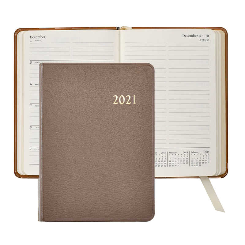 2021 Weekly Diary Taupe Goatskin Leather