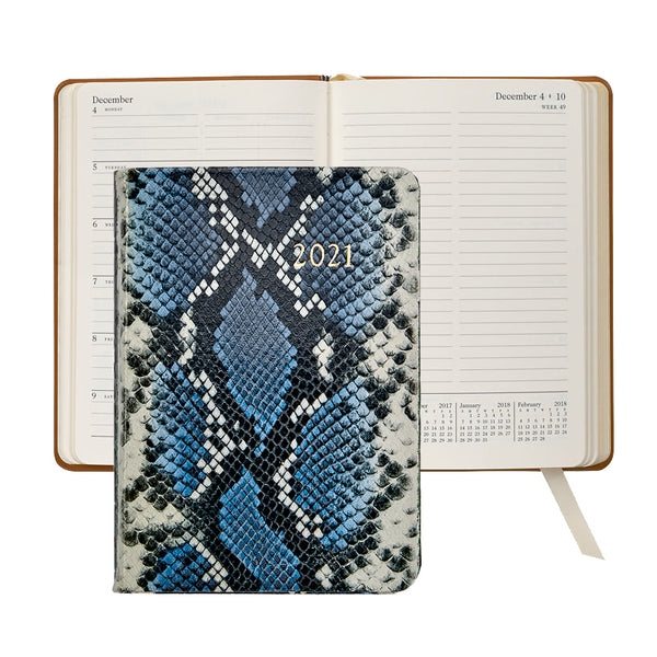 2021 Weekly Diary Navy Blue Python Embossed Leather - Limited Edition