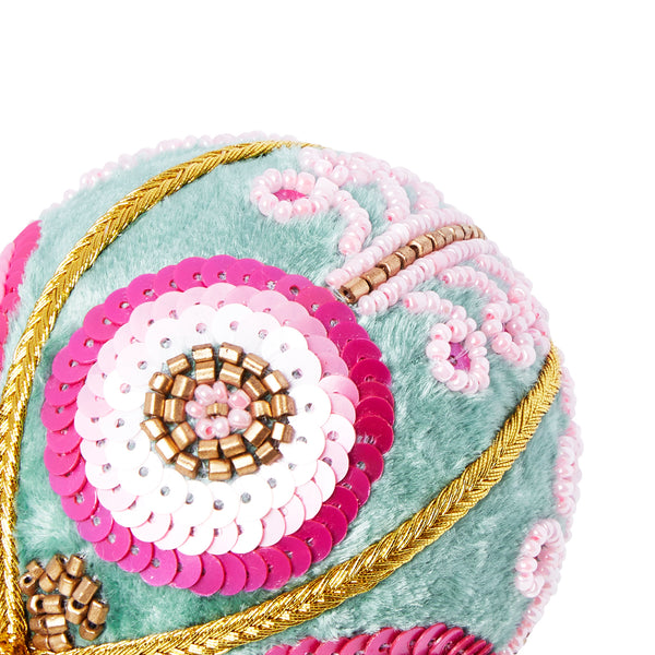 VELVET FLOWER SCROLL CHRISTMAS BAUBLE PINK & AQUA