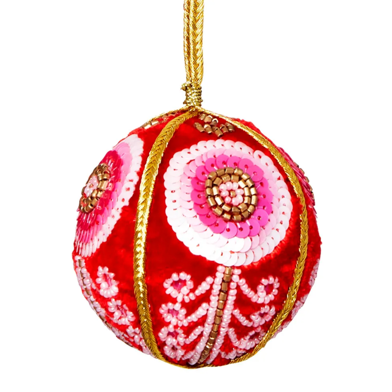 VELVET FLOWER SCROLL CHRISTMAS BAUBLE RED