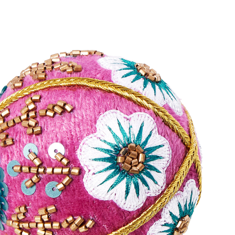 VELVET FLOWER CHRISTMAS BAUBLE LILAC & TEAL