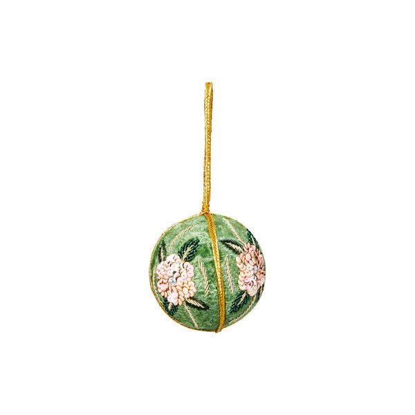 VELVET FLOWER  CHRISTMAS BAUBLE GREEN