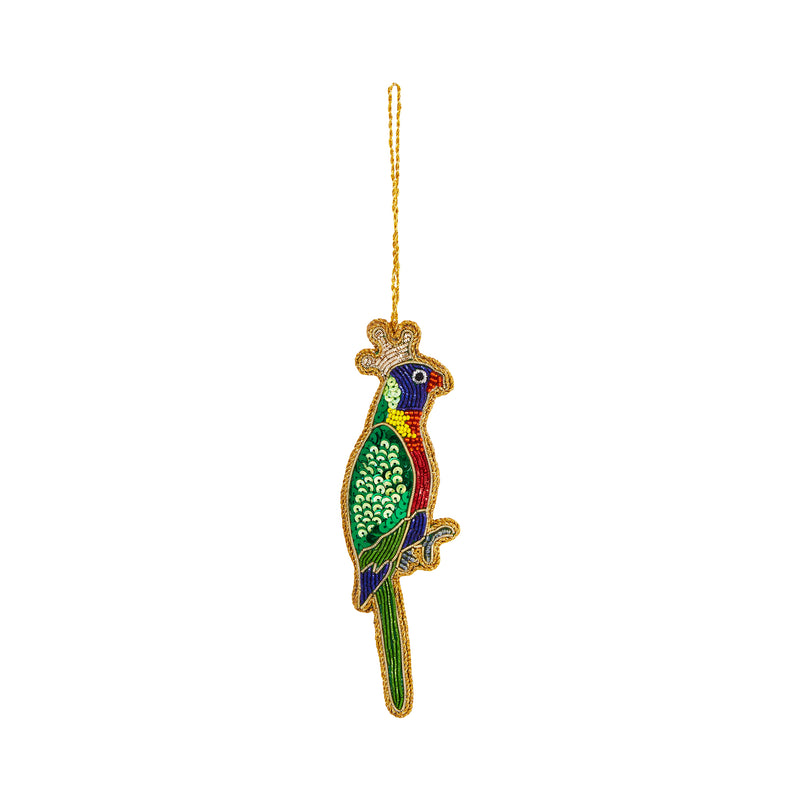 QUEEN LORIKEET SEQUIN CHRISTMAS TREE DECORATION