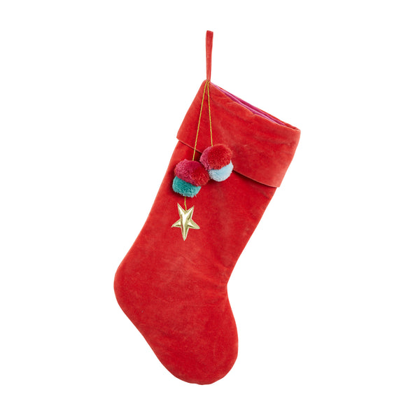 Velvet Pom Pom Christmas Stocking - Red