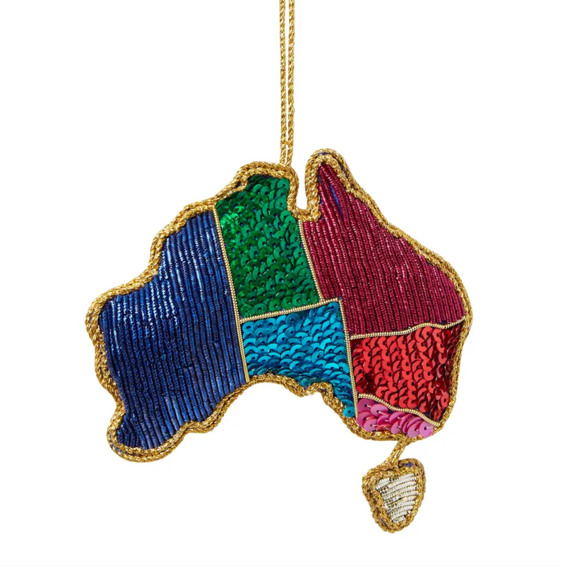 AUSTRALIA FOREVER SEQUIN CHRISTMAS TREE DECORATION