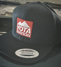 Load image into Gallery viewer, Black Snapback Hat Red Yota Nation Logo - Yota Nation