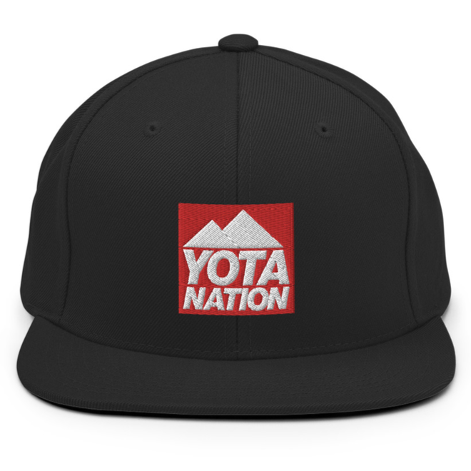 Black Snapback Hat Red Yota Nation Logo - Yota Nation