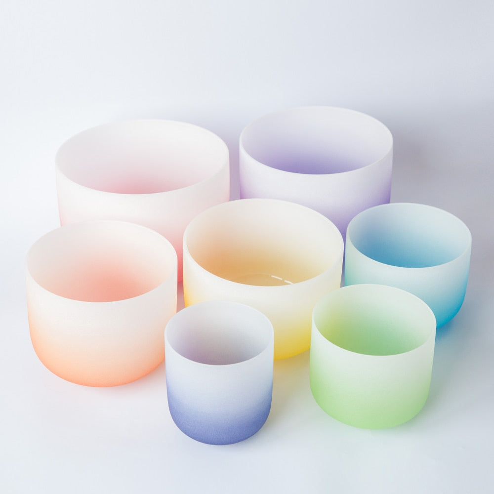 Color Gradient Crystal Singing Bowls