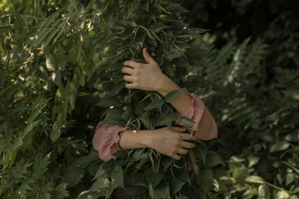 Woman embracing a green fern tree from behind