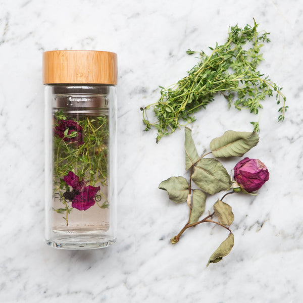 rose and thyme water infusion in a fressko flask