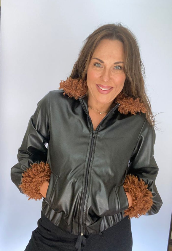 Black Faux Leather Jacket With Teddy Fur Trim