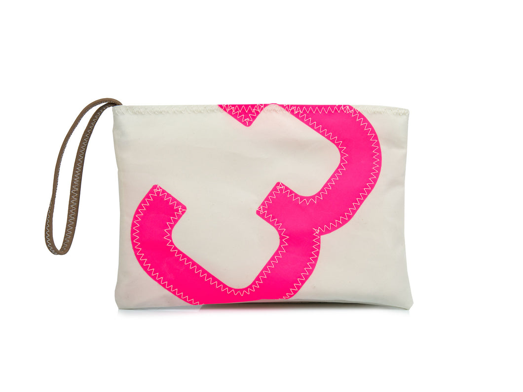 Hand-sewn in France, this cute clutch bag is crafted from a genuine recycled sail cloth and is adorned with an oversized number '3' (pink) on the front.