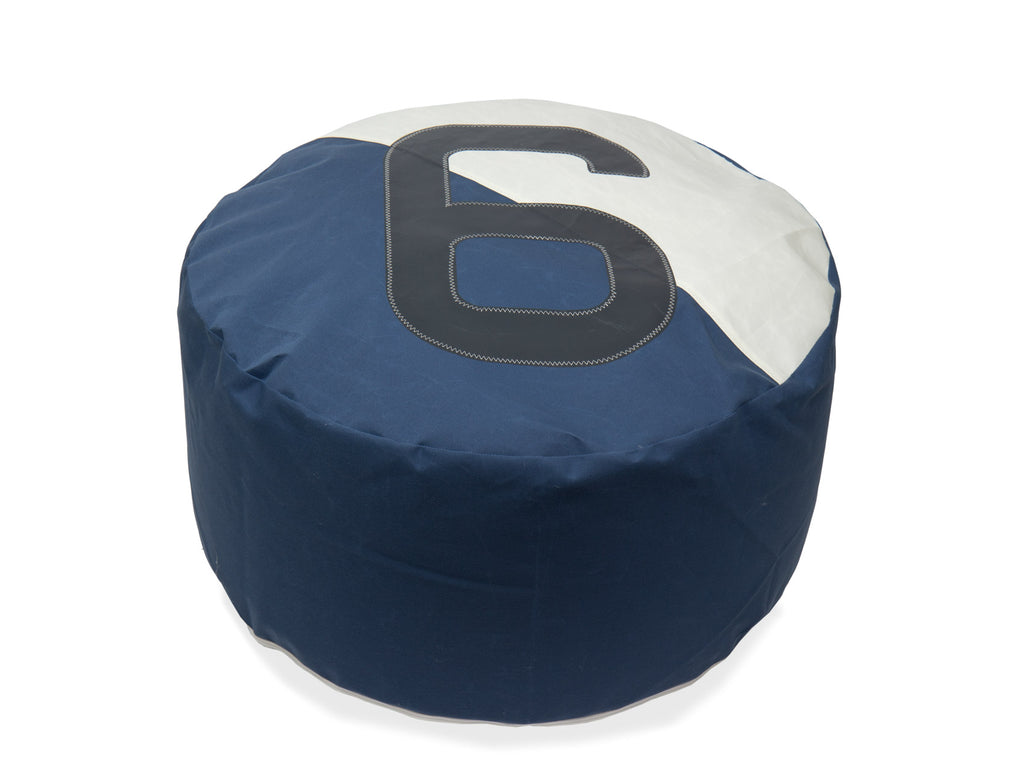 727Sailbags | Duo No.6 Bean Bag | Navy, White & Black | Diameter 72cm