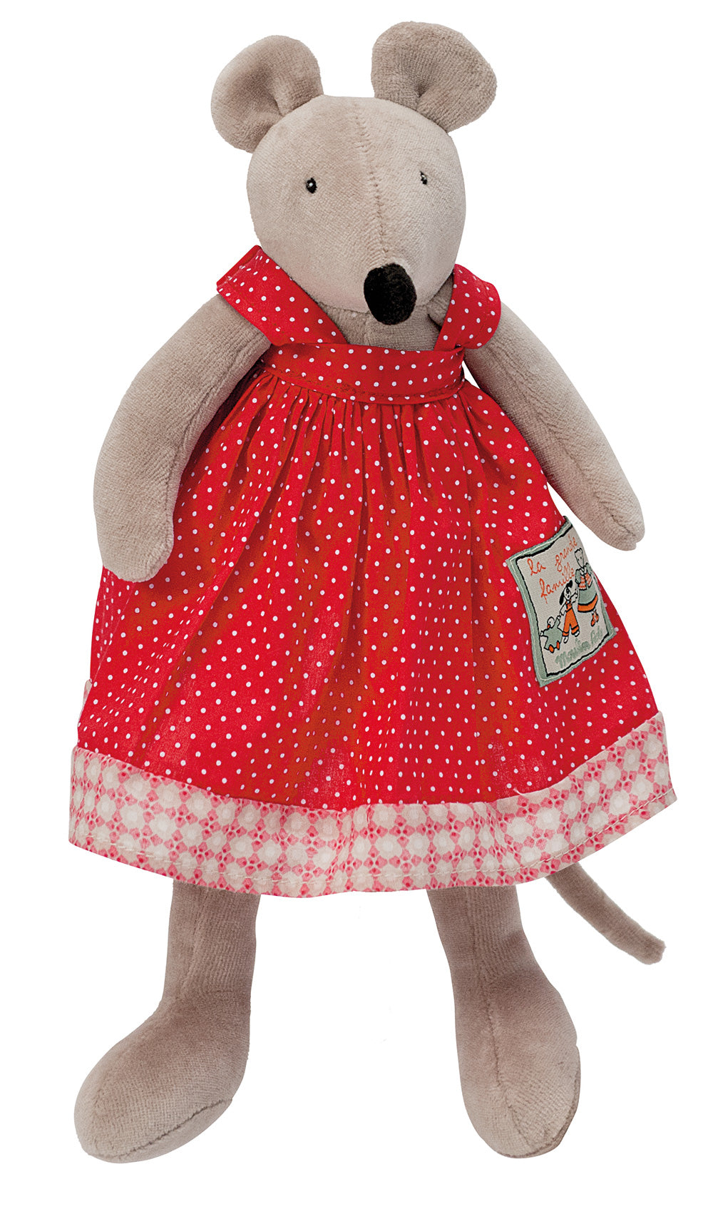 Moulin Roty | Cotton Soft Toy | 'La Grande Famille' Nini The Mouse in Red Dress | Size: 30cm | Age: 0+