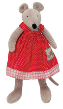 Load image into Gallery viewer, Made from the finest fabrics from France, this elegant red dress comes with a little hanger and is suited to dress La Grande Famille characters (30cm).