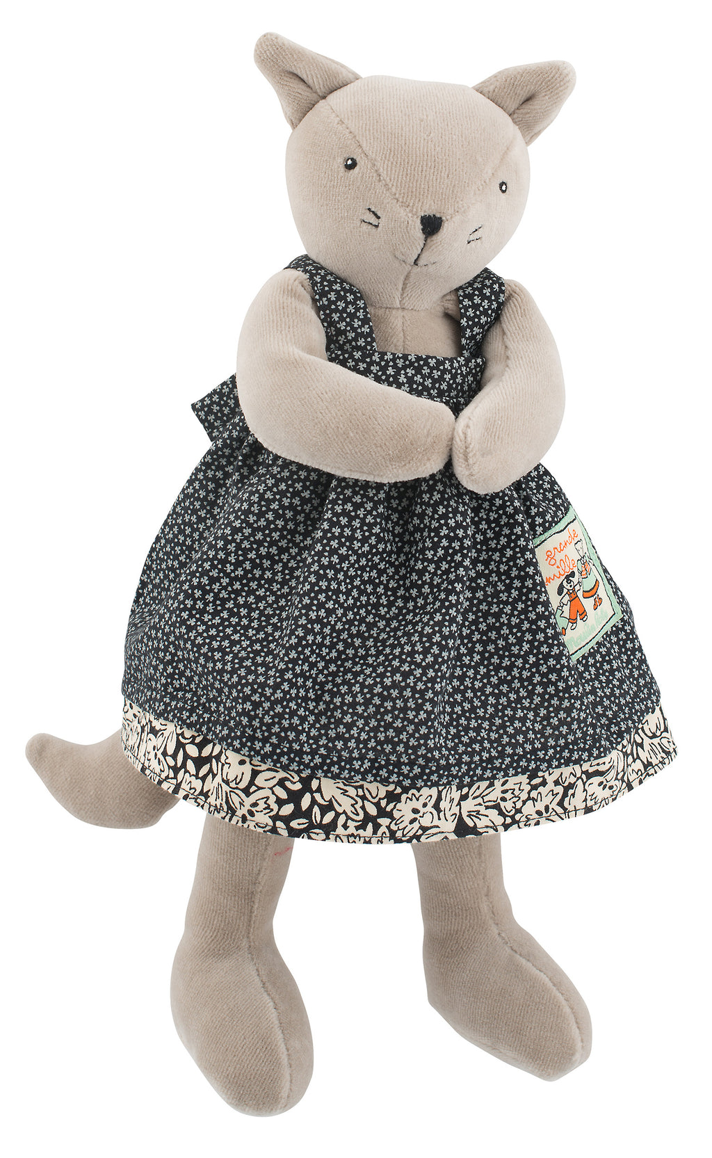 This 30cm cat soft toy is dressed in a removable frilled pinafore dress in country-print cotton.