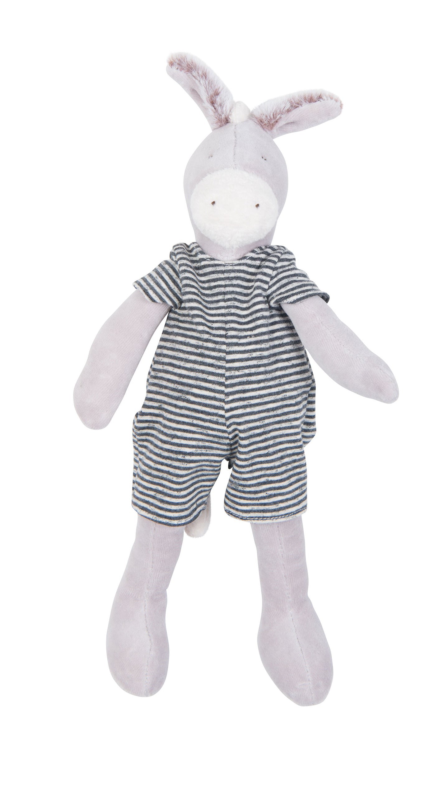 Barnabé the Donkey, with his soft little ears and all dressed in stripes, is just waiting to enjoy gentle cuddles with baby! Suitable from newborn, but still enjoyed many years later.