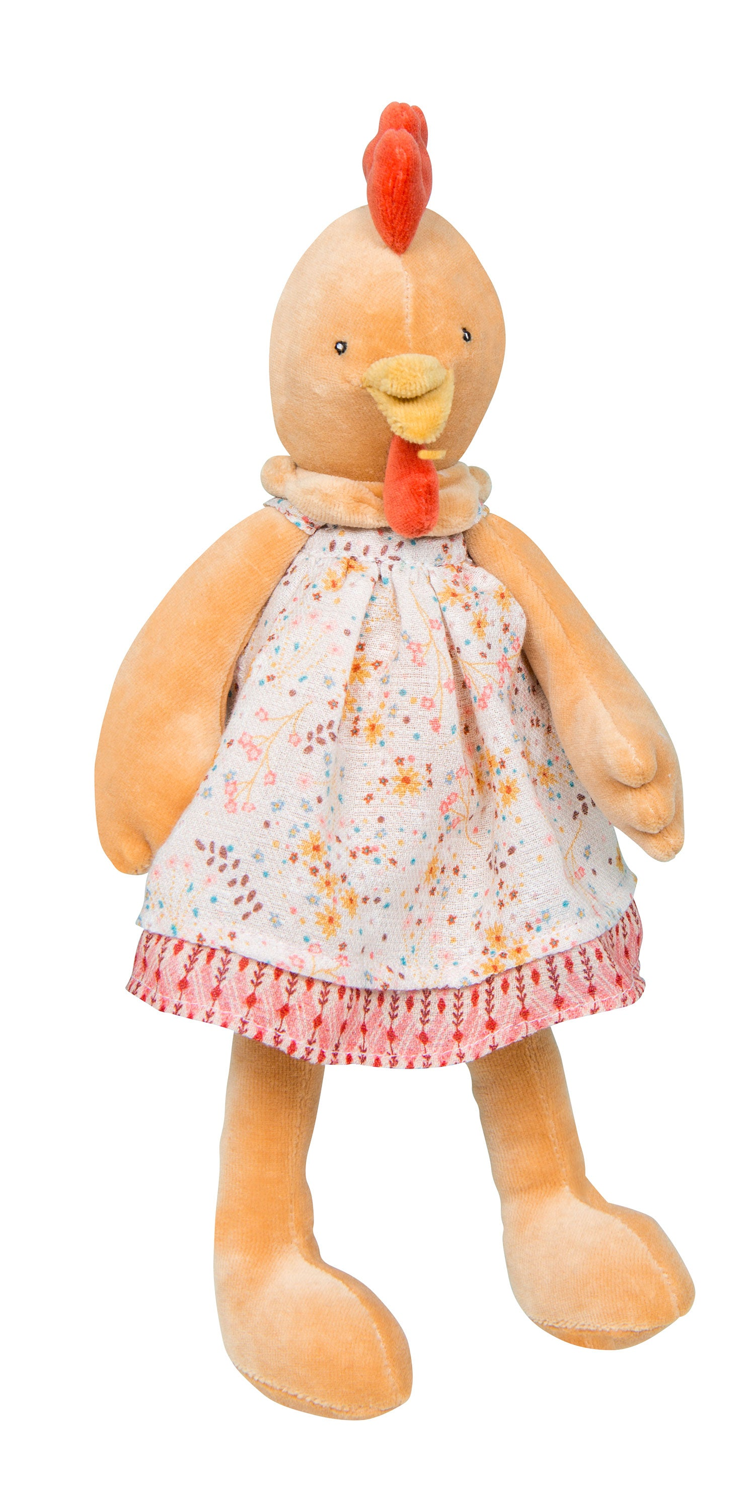 Soft and gentle in her pretty floral dress and delicate shades of orange, Félicie the hen is the perfect plush animal for cuddling baby in her cosy nest!  Suitable from new born and many years later.
