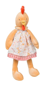 Moulin Roty | Cotton Doll Dress | Peach Printed Dress | Size: for 30cm tall plush animals and dolls | Age: 0+