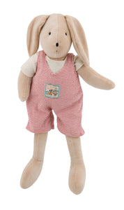 Measuring 50 cm, Sylvain is a soft and cuddly rabbit ready to go to bed in its soft red stripes outfit.