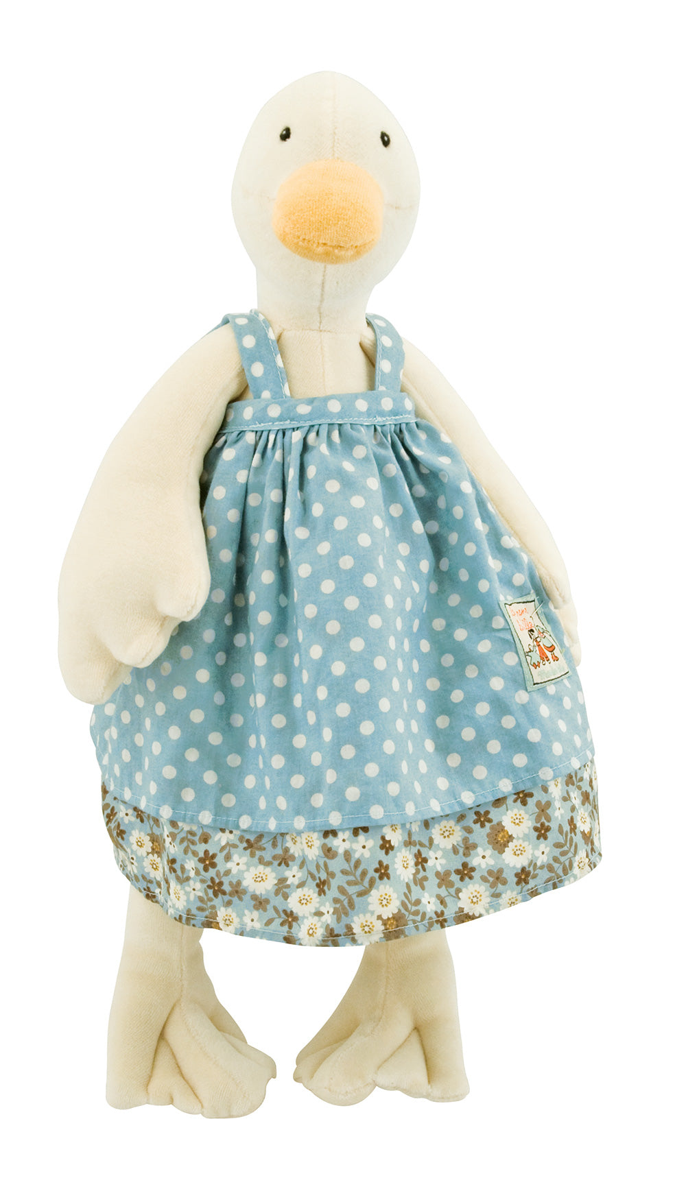 Moulin Roty | Cotton Soft Toy | 'La Grande Famille' Jeanne The Goose in Blue Dress | Size: 50cm | Age: 0+