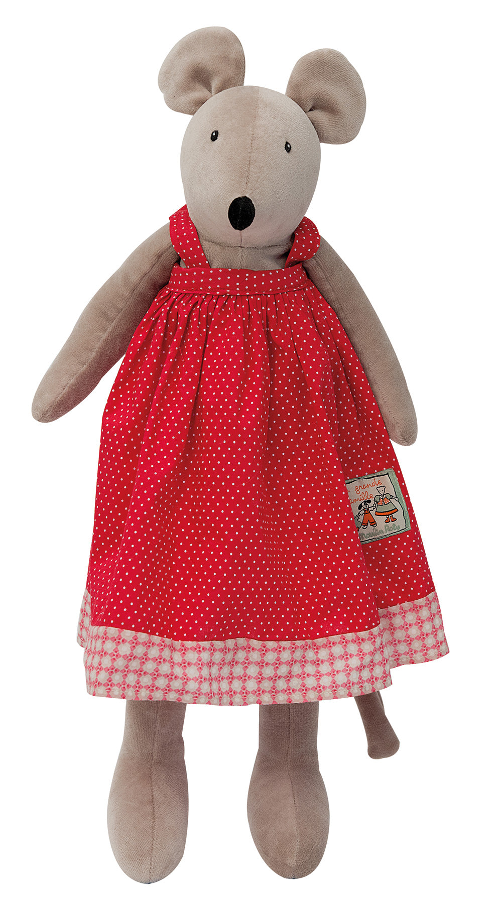 Made from very soft velour, Nini the mouse, measuring 50cm, is dressed in a sophisticated French red cotton dress with white polkadots and a floral hem border.