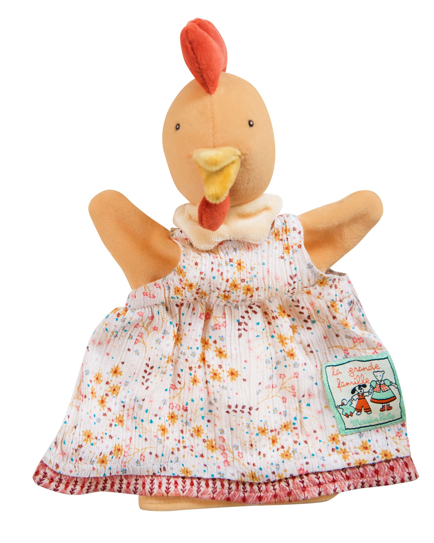 Félicie the hen, a hand puppet, from Moulin Roty's iconic La Grande Famille collection of cheerful characters is a great gift idea for new born to toddlers and pre-schoolers. She is dressed with a floral dress and will ensure fun plays! Ideal soft toy for developing any child's imagination.