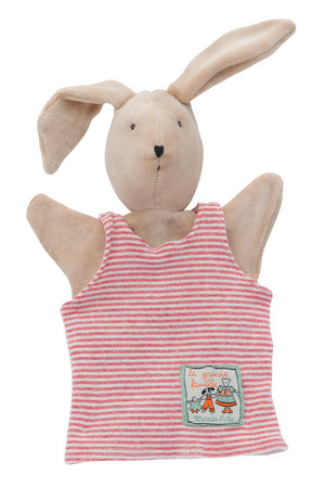 Moulin Roty | Hand Puppet | 'La Grande Famille' Sylvain The Rabbit in Stripe Dungarees | Size: 25cm | Age: 0+