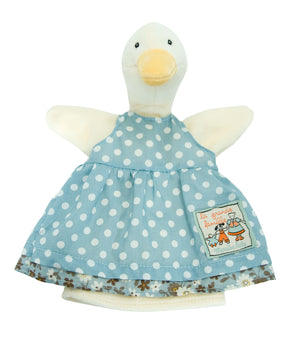 Moulin Roty | Hand Puppet | 'La Grande Famille' Jeanne the Goose in Blue Apron Dress | Size: 25cm | Age: 0+
