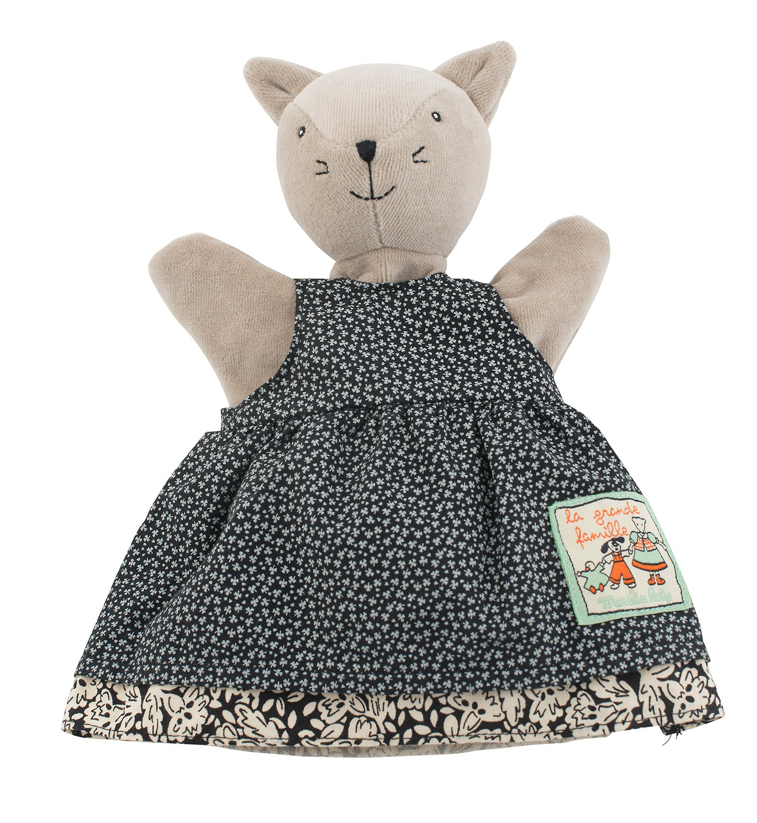 Agathe, the cat puppet from the iconic Moulin Roty's La Grande Famille collection, is elegant in her polka dots dress. She's suitable from new born age and is perfect for inventing stories, playing with all the family and developing children's imagination.