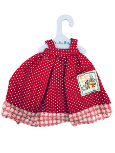 Doll's red dress with small polka dots