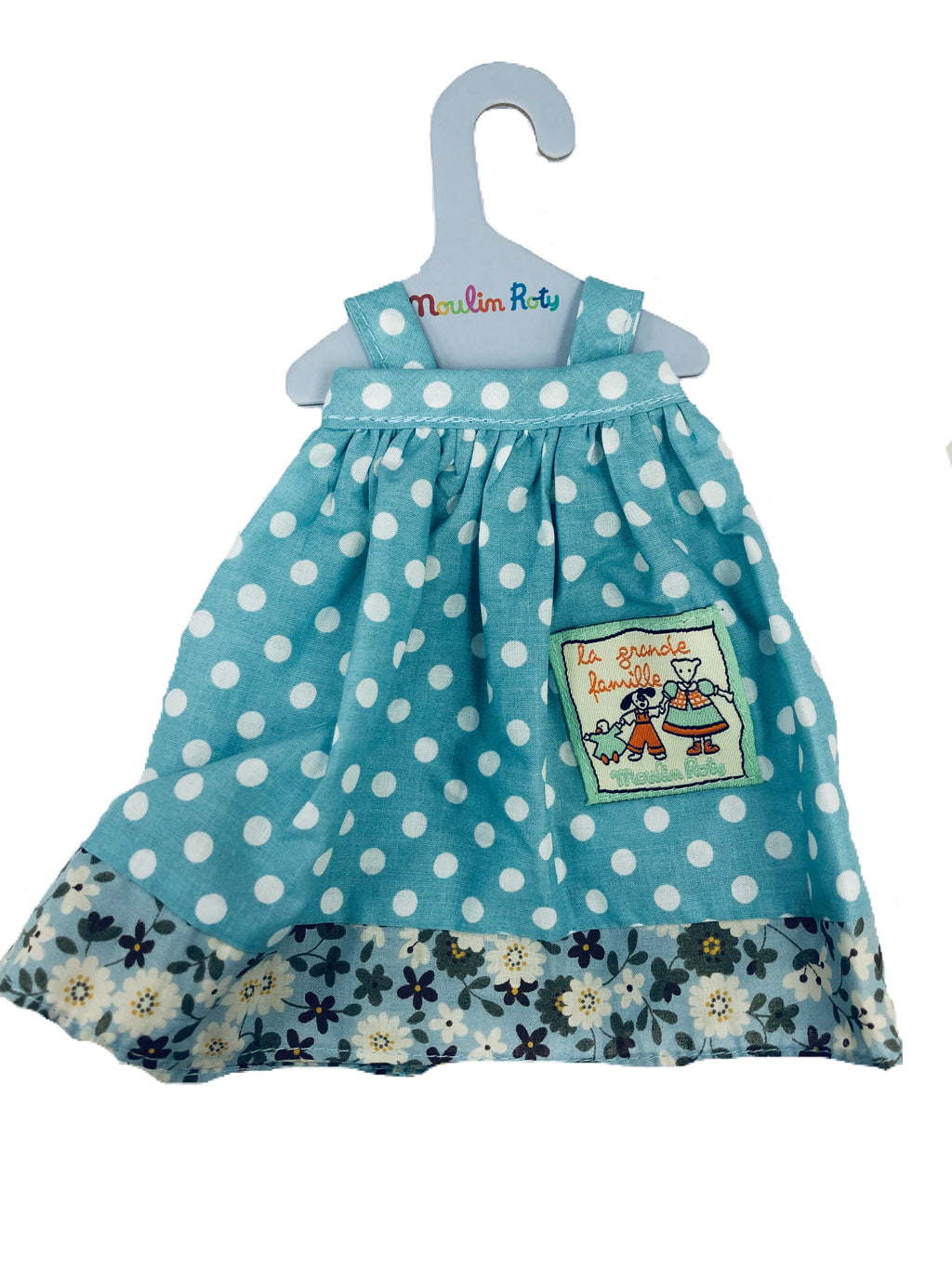 Moulin Roty | Cotton Doll Dress | Blue Polka Dot Apron Dress | Size: for 30cm tall plush animals and dolls | Age: 0+