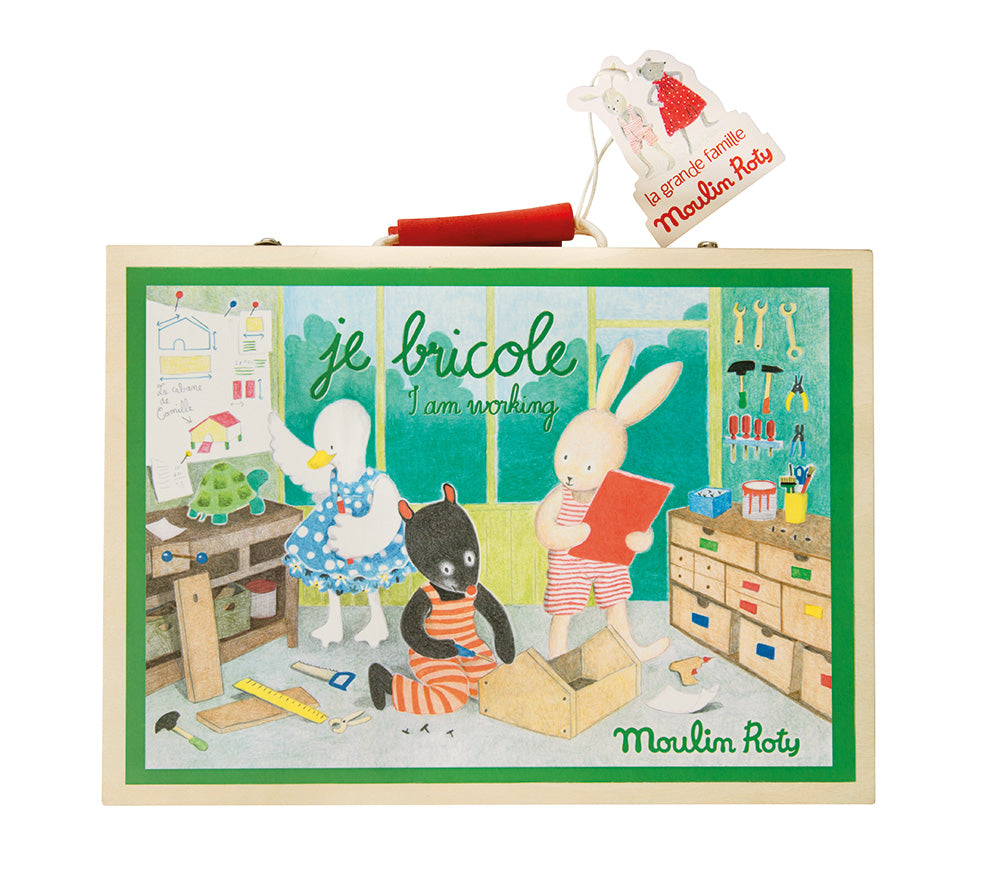 Moulin Roty | First Tool Box Set in Wooden Case | 8 Wooden Tools | Age: 3+