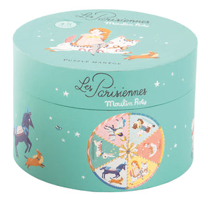 Moulin Roty | 45-Piece Puzzle in Illustrated Round Box | Theme: Paris | Age: 4+ | LAST ONE - BOX SLIGHTLY DAMAGED