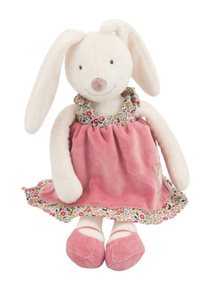 Moulin Roty | Cotton Soft Toy | Myrtille the Bunny in Pink Dress + 4 Changes of Clothes | Size: 30cm | Age: 0+