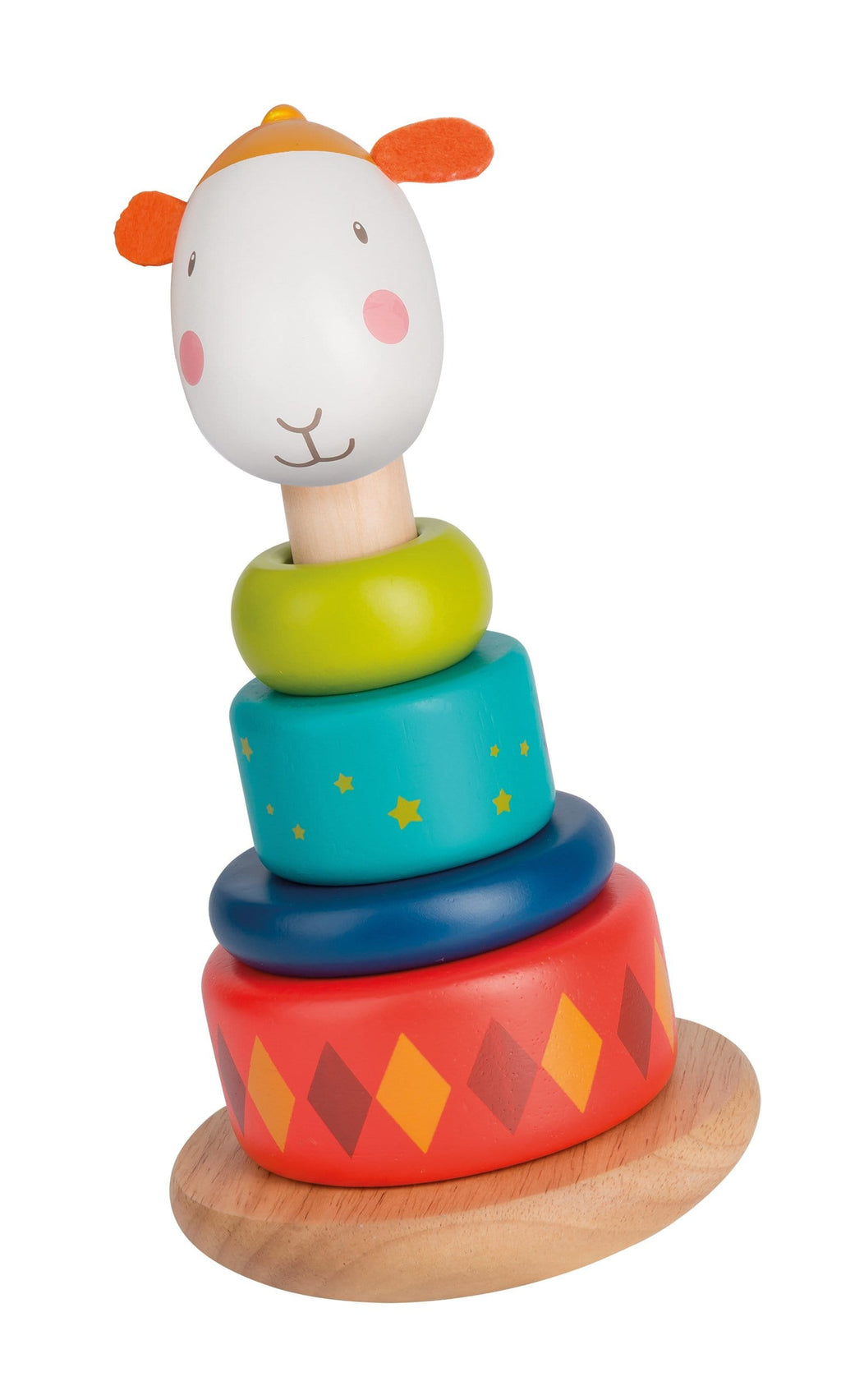 This stackable wobbly sheep Zephyr in lacquered wood with felt ears is a fun way to learn shapes and colours and develop motor skills.