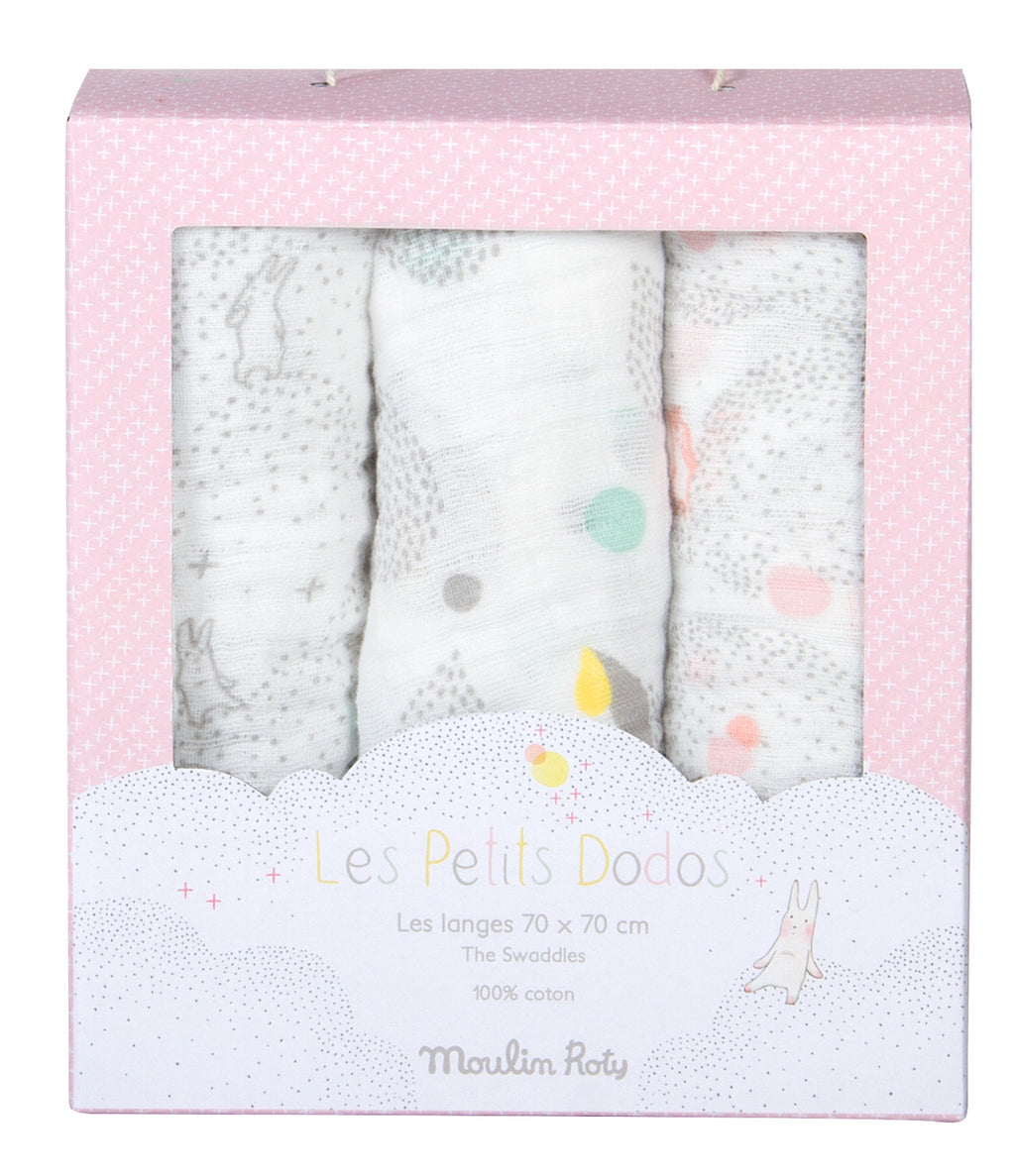 Moulin Roty | Set of 3 Muslin Squares | White, Grey, Pink | Size: 70cm x 70cm | Age: 0+