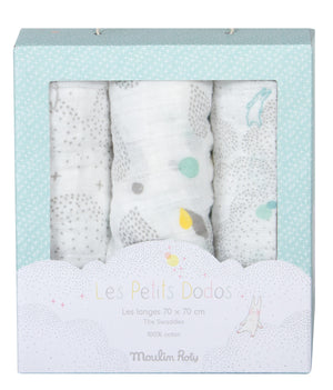 Moulin Roty | Set of 3 Muslin Squares | White, Grey, Blue | Size: 70cm x 70cm | Age: 0+