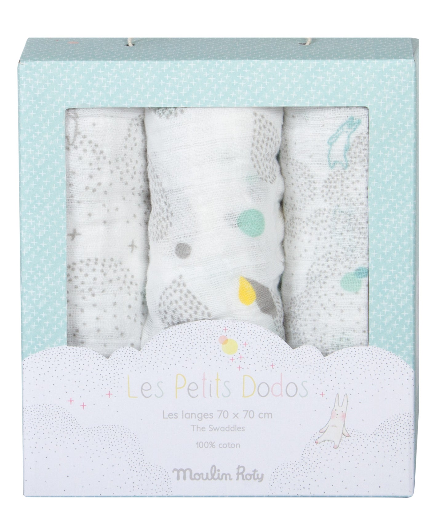 SET OF 3 MUSLIN SQUARES (WHITE, GREY, BLUE)
