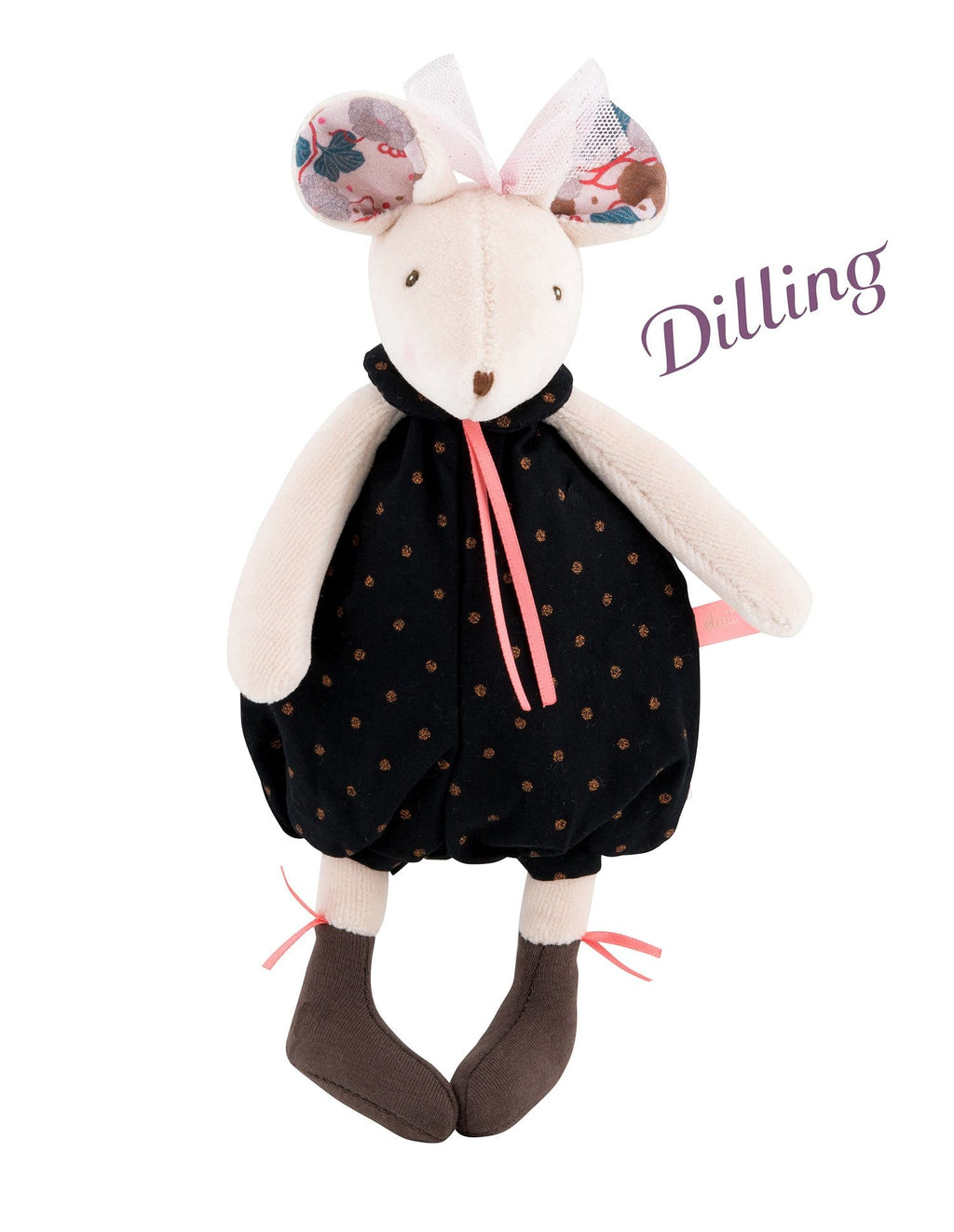 Moulin Roty | Fabric Rattle | Mouse in Black & Gold Bloomers | Size: 25cm | Age: 0+