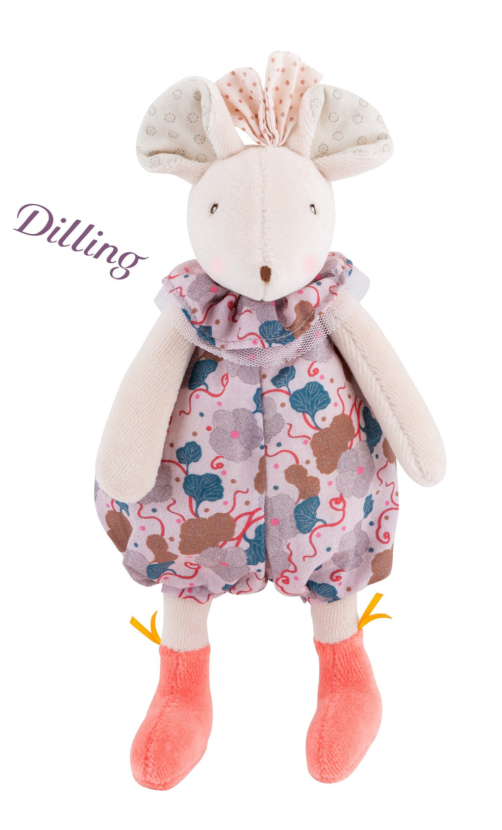 Moulin Roty | Fabric Rattle | Mouse in Floral Bloomers | Size: 24cm | Age: 0+
