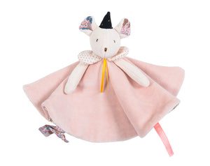 An elegant little mouse comforter to watch over baby; in floral cotton voile lined with velvet and sparkly tulle frill collar. Easy to grab and hold with baby's little hands with a tab to attach a pacifier.