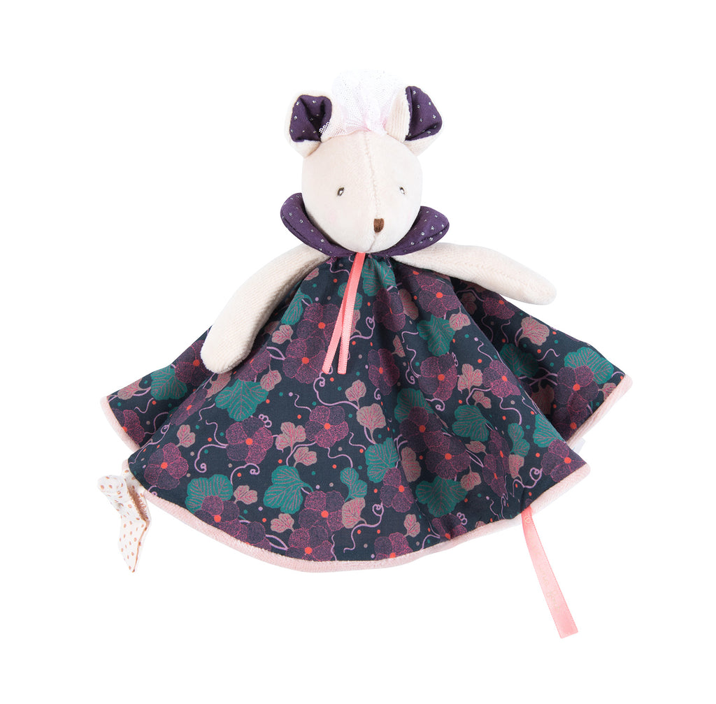 Moulin Roty | Cotton Comforter | Lala the Mouse | Floral Print | Size: 24cm | Age: 0+